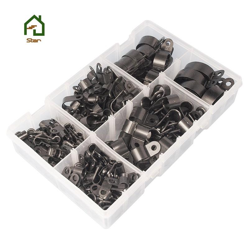 Conduit 200X Nylon Black Plastic R Clips For Wire Cable Assorted Box