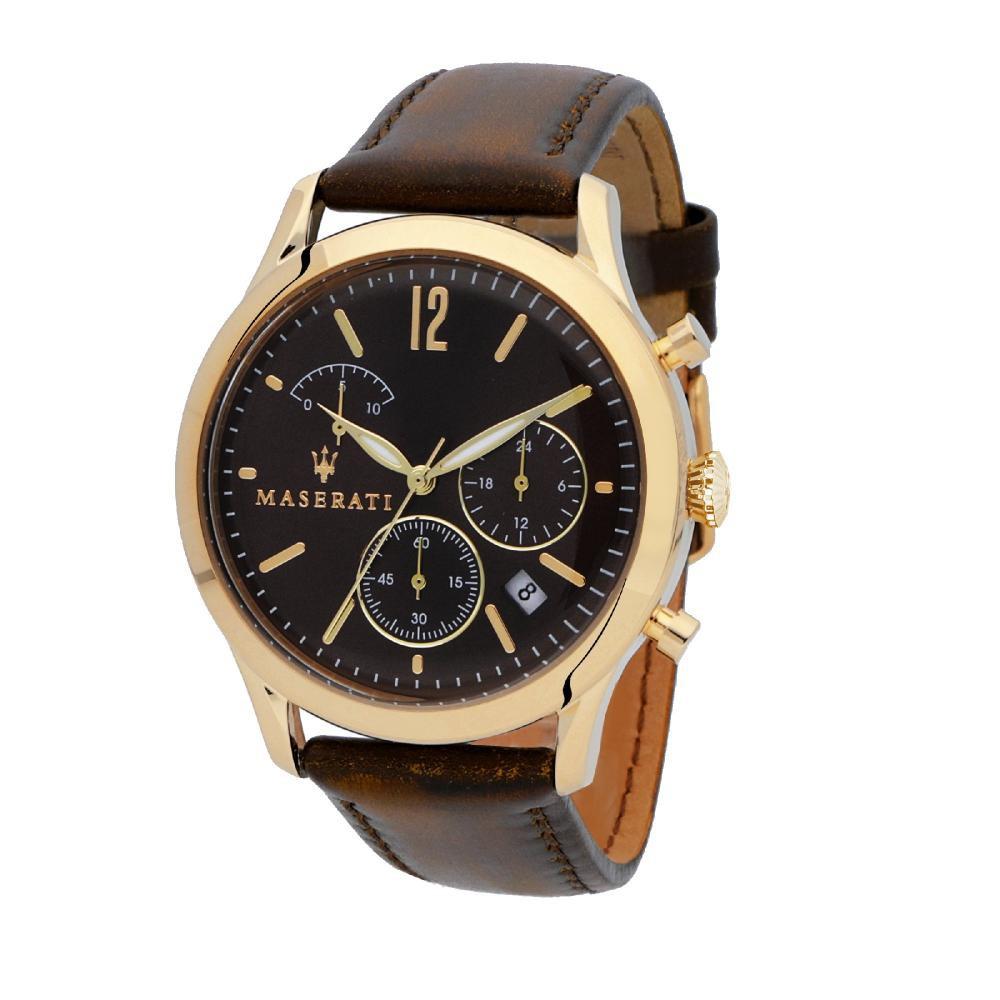 Maserati Tradizione Brown Leather Quartz Chronograph Watches R8871625001
