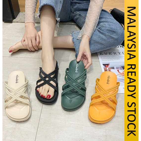 READY STOCK 28460] SANDAL WANITA TUMIT RATA / SUPER CROSS CASUAL SANDALS