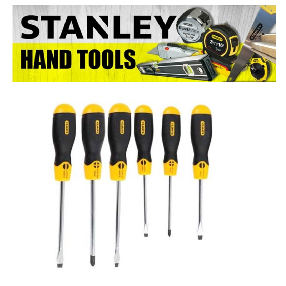 STANLEY 65-242-2 CUSHION GRIP 2 SECREWDRIVER SET 6 PIECES PHILIPS SLOTTED STANDARD PARALLEL HEAD