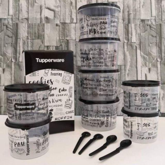 Tupperware 12in1 set black n white food storage trendy modern look