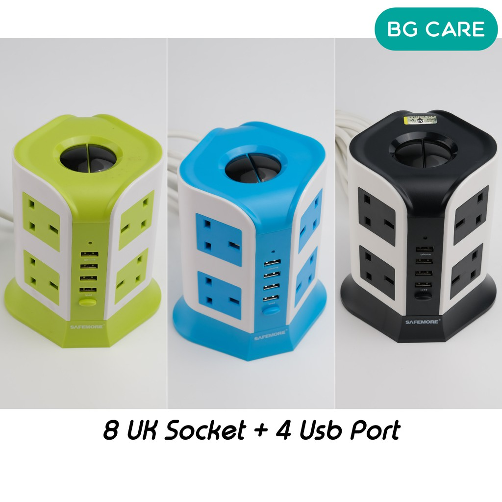 Safemore Smart Extension Plug Tower Overload Protector Socket Multiple UK 3 Pin Plug Outlet Charging USB Port with Sirim