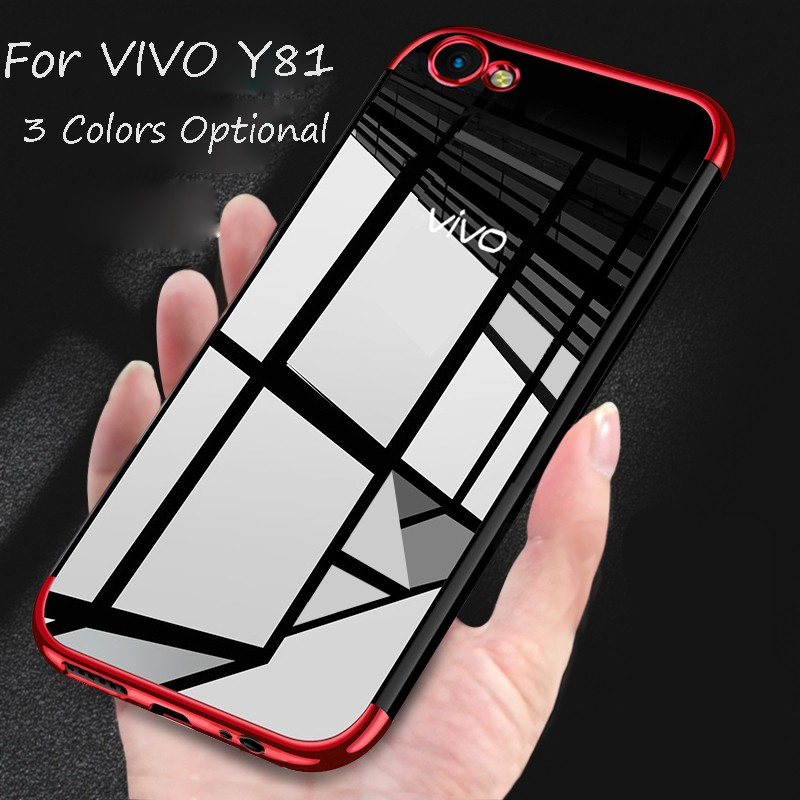 brand new df65c 3dcc7 For VIVO Y81/Y81s Transparent Clear Electroplate Soft TPU Phone Case Cover