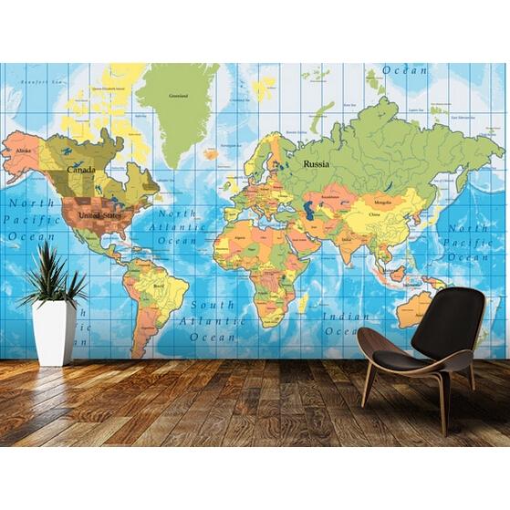 3d World Map Wallpaper Living Room Tv Wall Kids Room Office