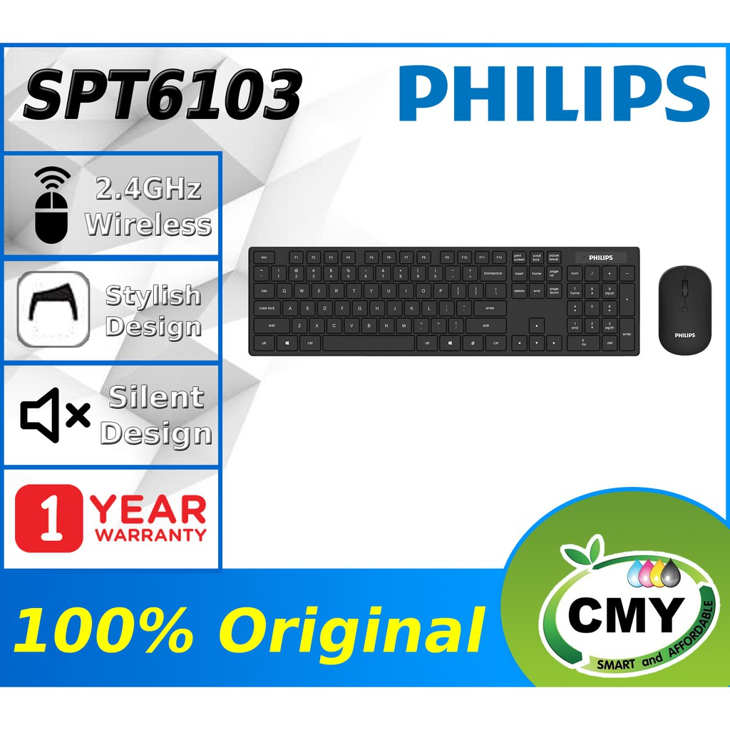 PHILIPS C103 SPT6103 Wireless Keyboard and Mouse Combo