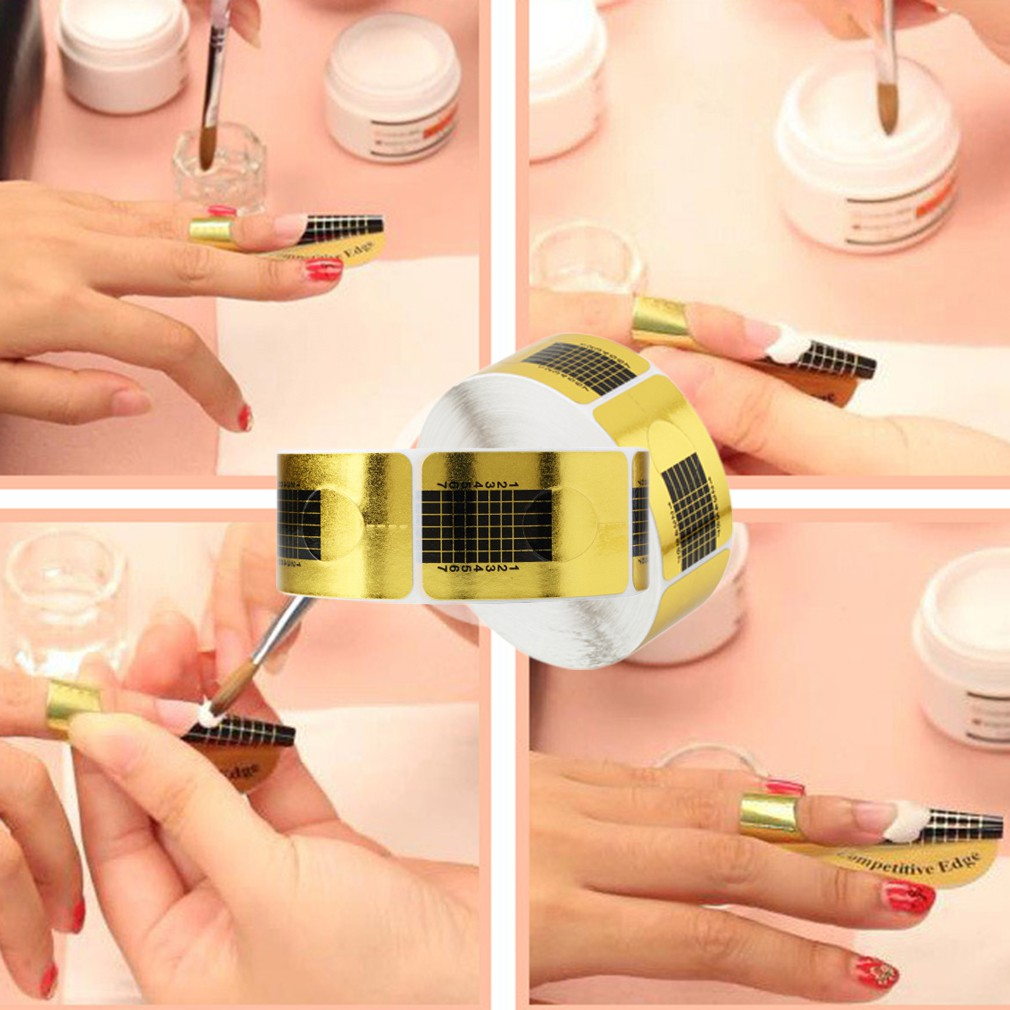500Pcs Nail Art Forms Acrylic UV Gel Manicure Sticker Tool