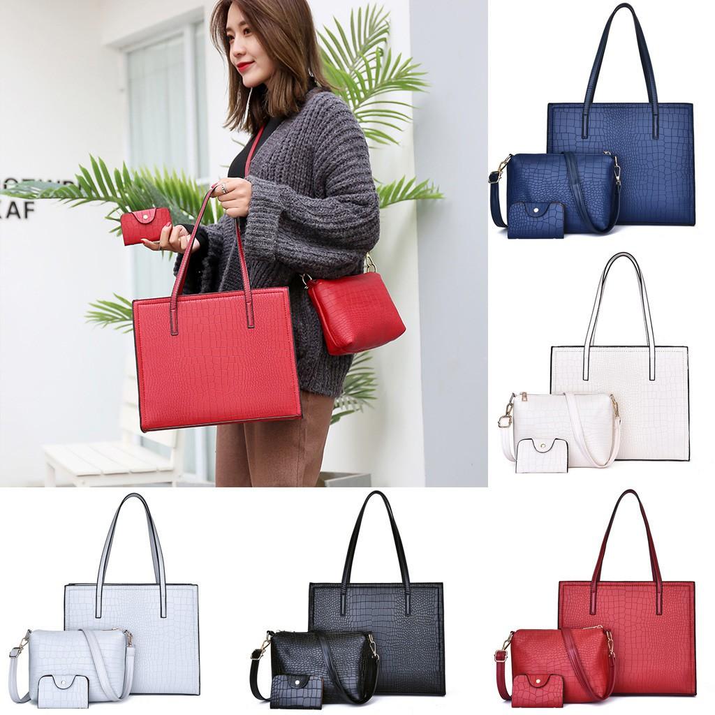 3Pcs Women Alligator Pattern Hand Bag Shoulder Bag+Crossbody Bag+Card Package
