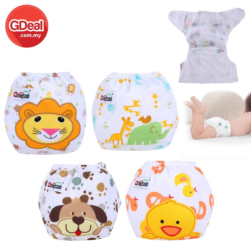GDeal 4pcs Baby Training Pants Panties Diapers ReusableBaby 3 Layers Cotton Diaper Cover Waterproof(Random Design)