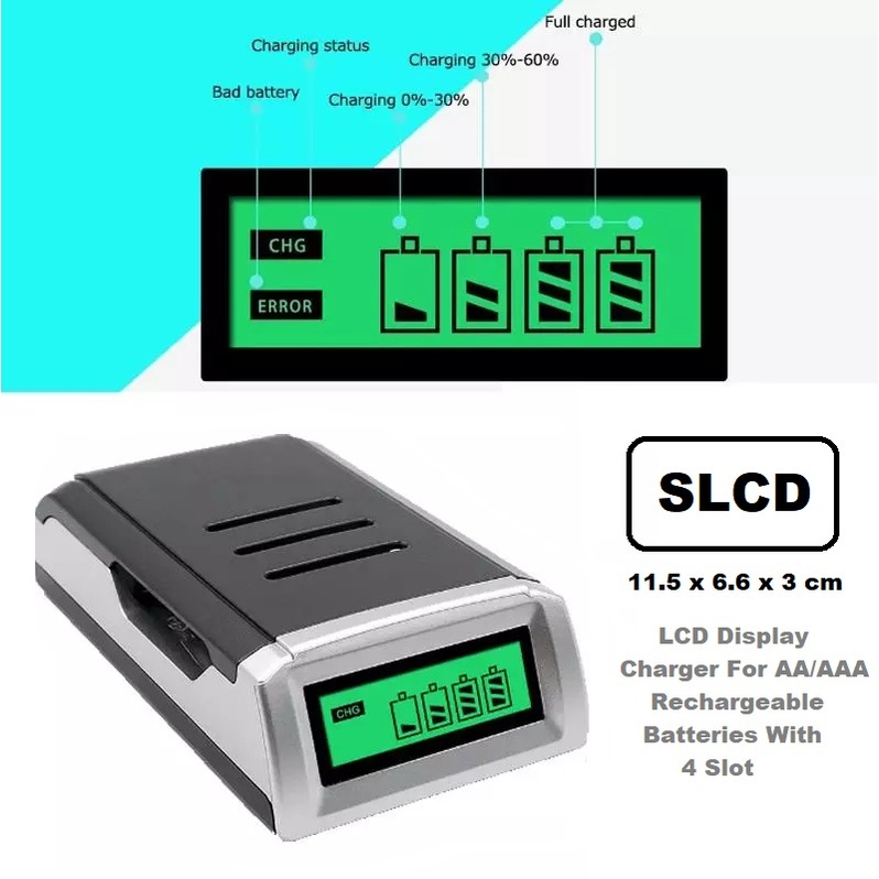 [ READY STOCK ]  LCD Display Charger For AA/AAA Rechargeable Batteries With 4 Slot Smart Intelligent Battery Charger