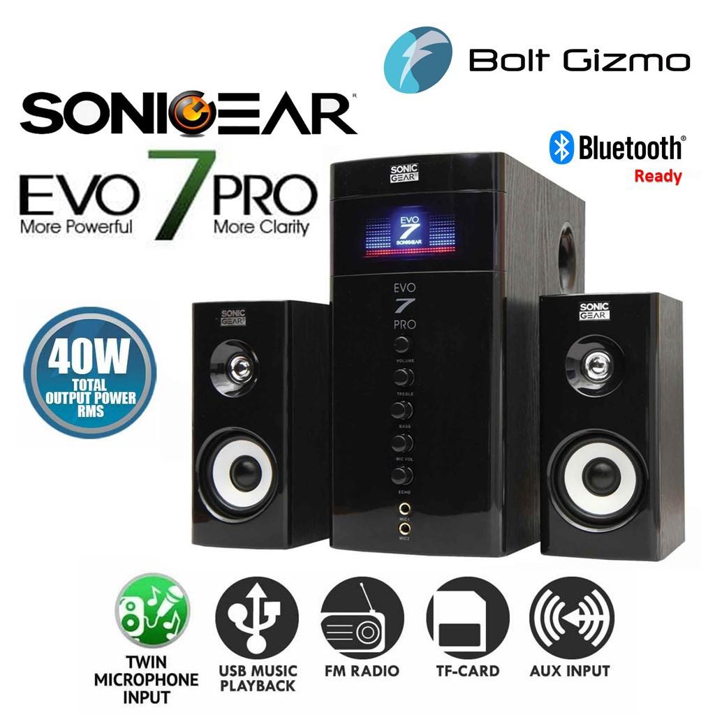 SonicGear Evo 7 Pro 2.1 Bluetooth Multimedia Speaker Black Channel bass Karaoke Microphone System AUX USB