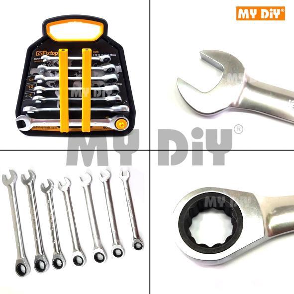 MYDIYSDNBHD - FIXTOP 7pcs Fixed Head Ratchet Spanner Set / Ratchet Wrench  Set Spanar Set