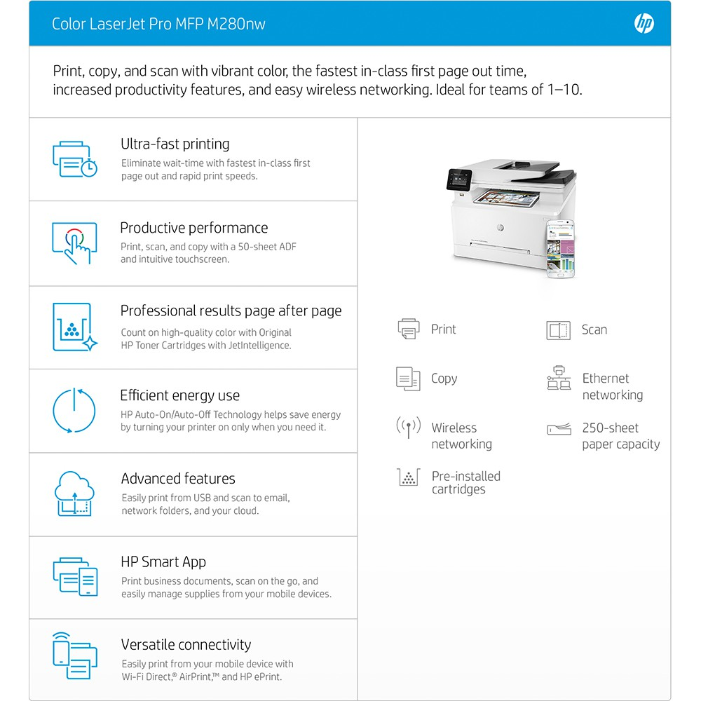 HP Color LaserJet Pro MFP M280nw Printer T6B80A+Free Mystery