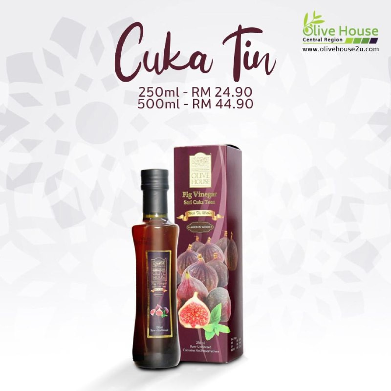 [ HOT SELLING ] FIG VINEGAR , Cuka Teen OLIVE HOUSE (250ml/500ml) with FREE Health Coaching and FREE Shipping