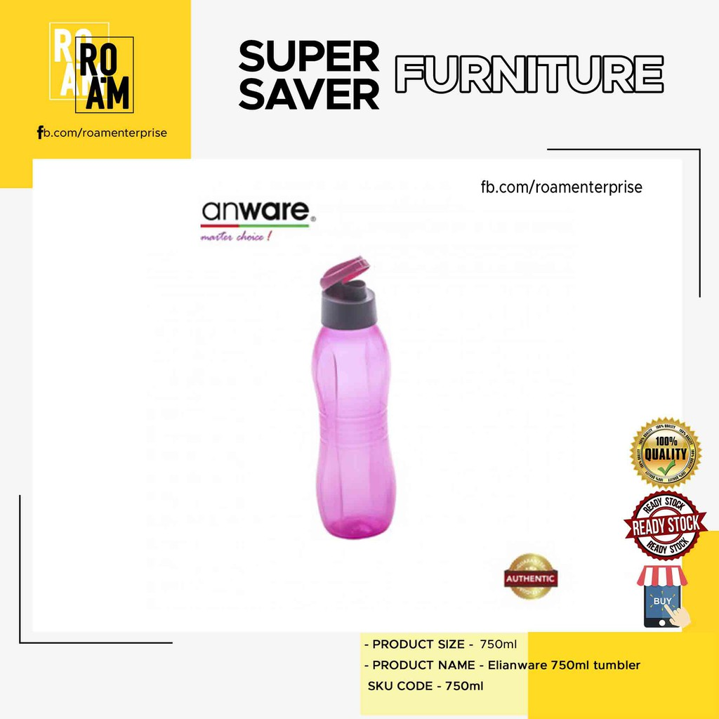 (Ready Stock)Elianware 750ml tumber ( BPA FREE)( PINK/BLUE/GREEN/PURPLE)