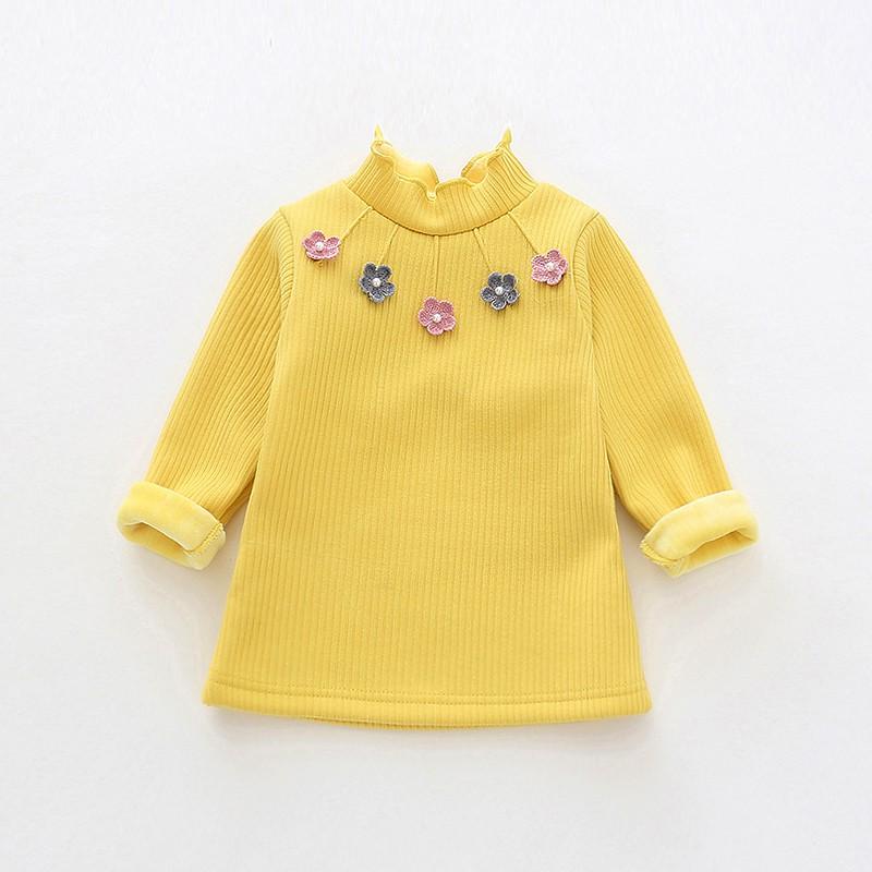 bcb4f32a8851b Kids babies☬▼1/2/3-year-old girl winter dress plus velvet bottomshirt baby  blouse autumn new thick T-shirt