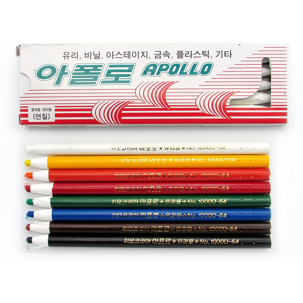 Apollo Dermatograph Oil-Based Pencils / Glass Pencil / Wax Grease Marker / Peal Off Crayon For Metal Glass Fabric