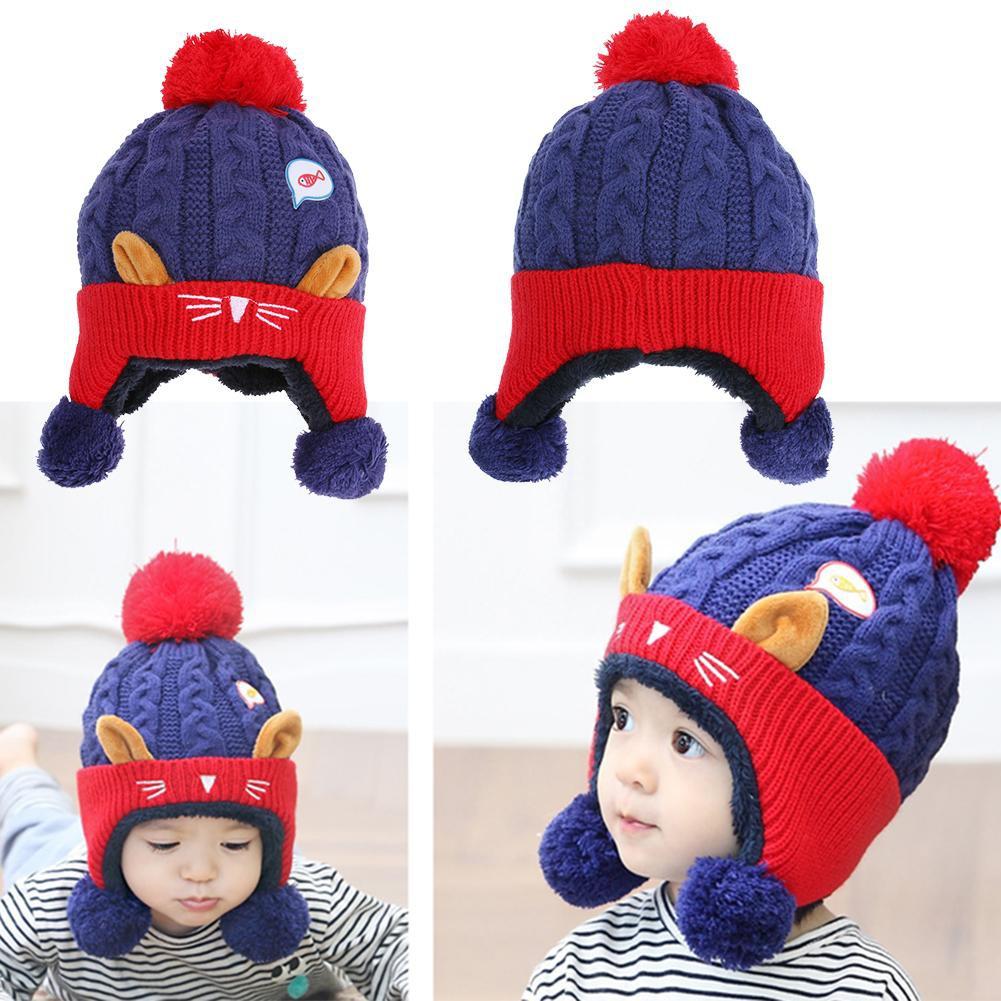 cb7904597 READY🚚Baby Winter Hat Warm Infant Cap Animal Cat Ear Kids Crochet Cap