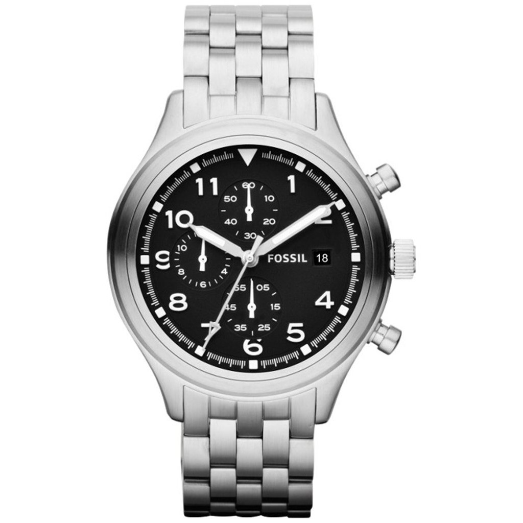 Fossil Original Jr1494 Watch Nate Chronograph Black Blue Stainless Jr1527 50mm Dial Two Tone Steel Stcok Shopee Malaysia