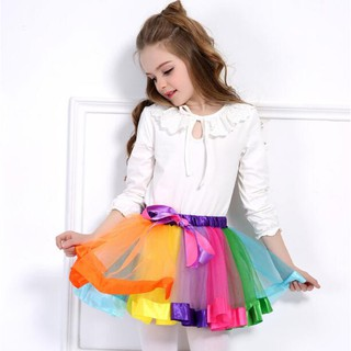 c5e7def52507 Girls Kid Rainbow Pettiskirt Bowknot Tutu Skirt Dancewear kids princess  dress