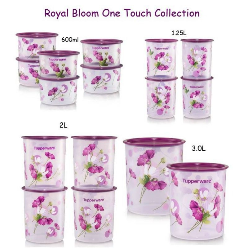 🔥READY STOCK🔥Tupperware Royale Bloom One Touch Canister 1.25L/2L & Camellia One Touch (1) 4.3L