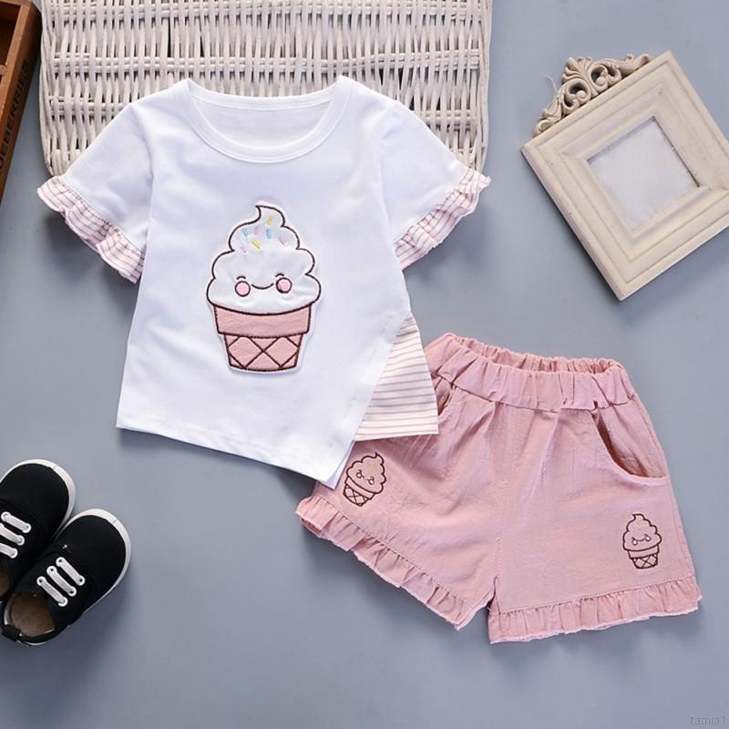 Infant Toddler Baby Girls Sweatshirt Outfits Clothes 1-5 Years Old,Kids Cartoon Bear T Shirt Tops Dot Pants Sets