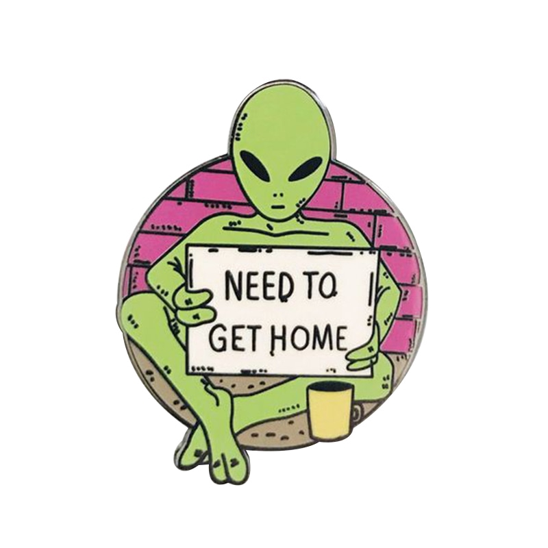 jackets and more Space Enamel lapel Pin Alien UFO glitter funny for backpacks