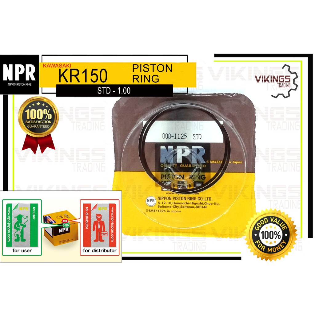 KR150 JAPAN NPR PISTON RING SET STD-1.00