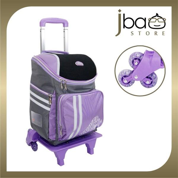 Univer 6 Wheels Trolley Kid School Bag Lightweight Backpack (Purple)