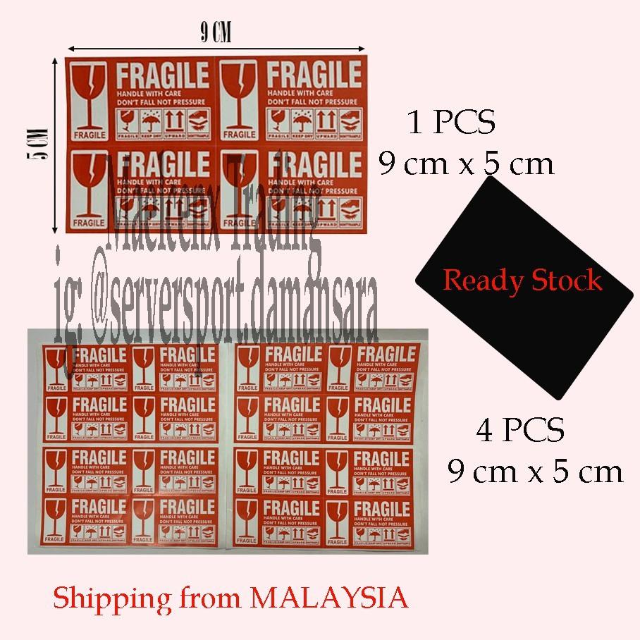 1pcs @ 4pcs  9cm x 5cm Fragile Sticker Warning Label Sticker Mudah Pecah Fast Shipping
