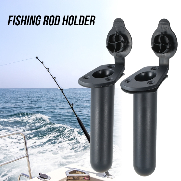 2x Fishing Rod Holder Boat Kayak Adjustable Swivel Side Rail Mount Accessory
