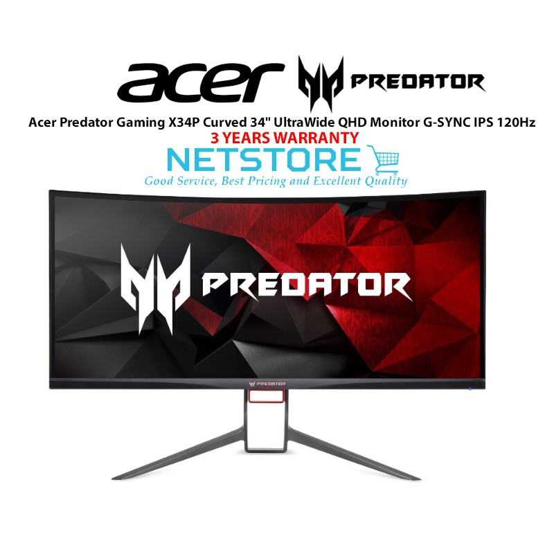 Acer Predator Gaming X34P Curved 34' UltraWide QHD G-SYNC IPS Gaming Monitor