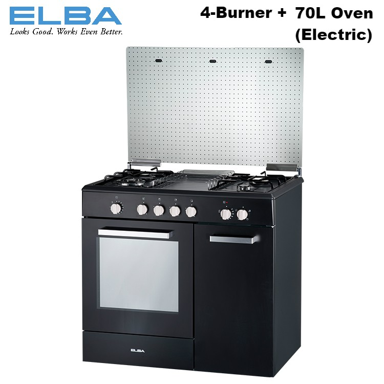 Elba Egc C9784e Bk Freestanding 4 Burner Gas Cooker With 70l Electric Oven Sho Malaysia