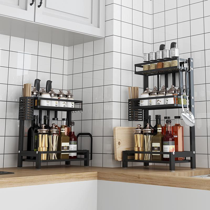 Black stainless steel kitchen rack / condiment storage rack / spice rack