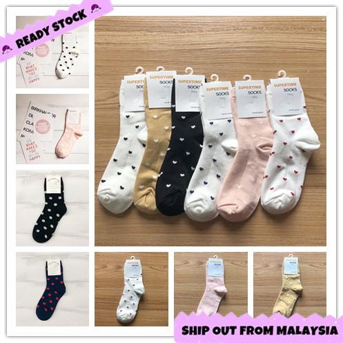 Cute Girls Dots Love Heart Sharp Korean Style Female Woman Cotton Crew Socks Stocking