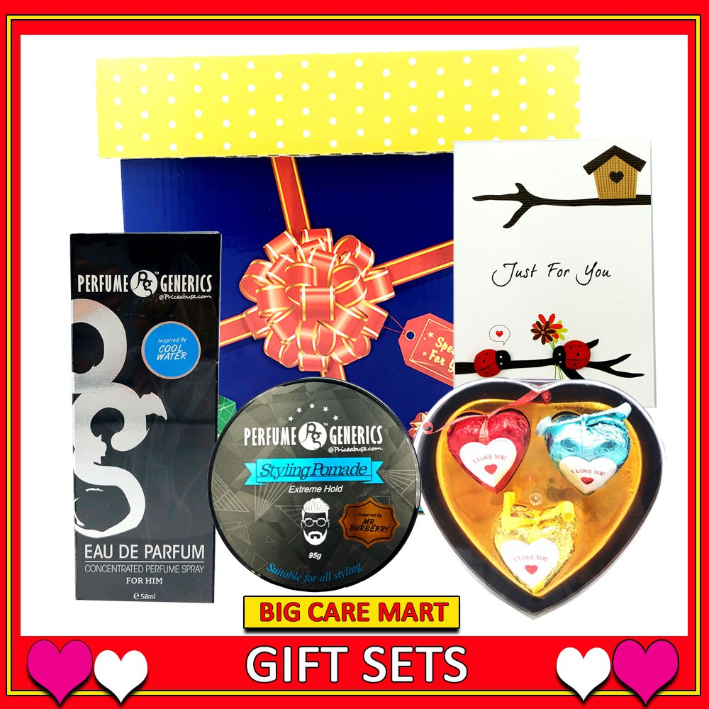 Valentine Gift For Men Perfume + Pomade + Chocolate