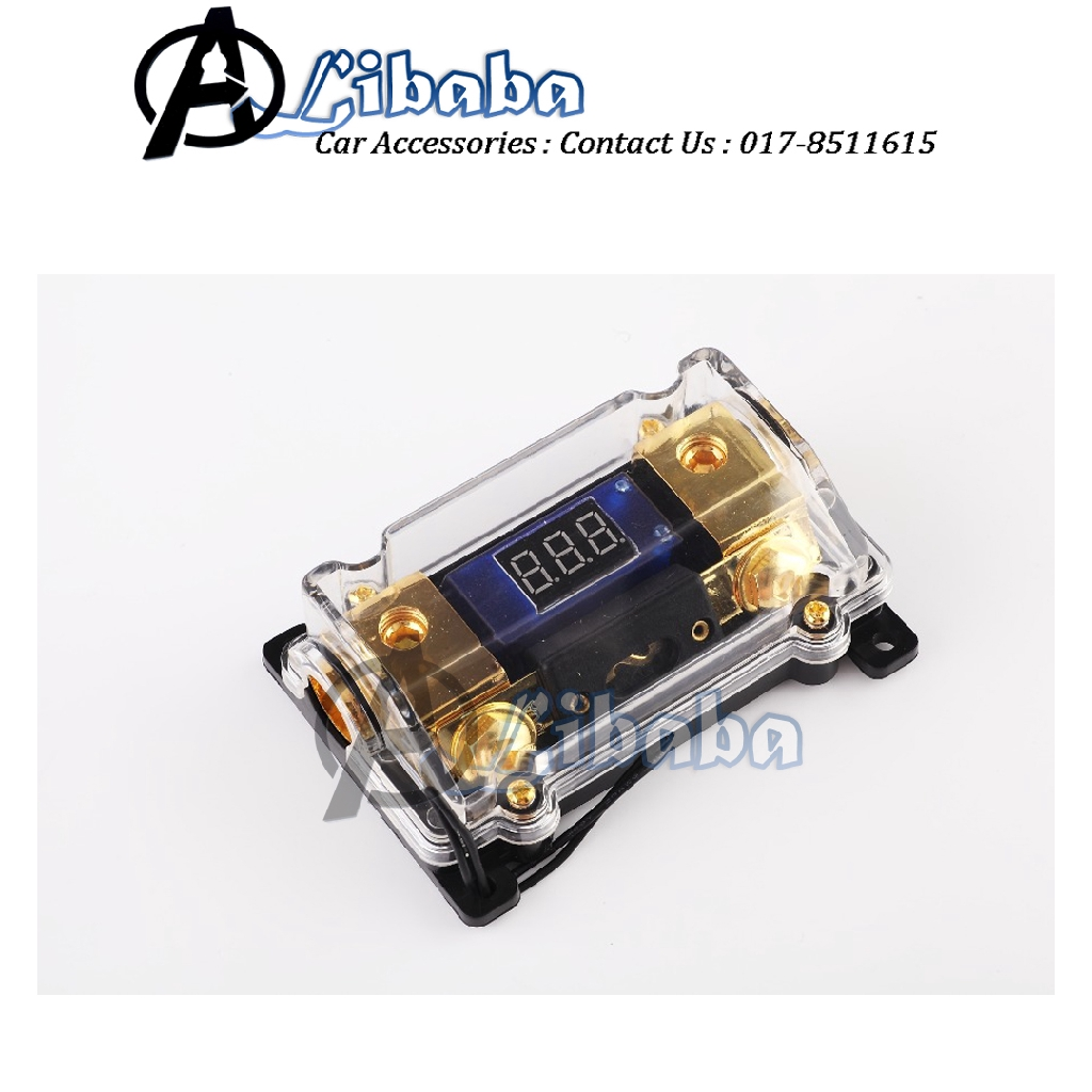 GOLD LED VOLTAGE DISPLAY  ANL FUSE HOLDER 0 2 4 GA 100 AMP Amplifier Kit