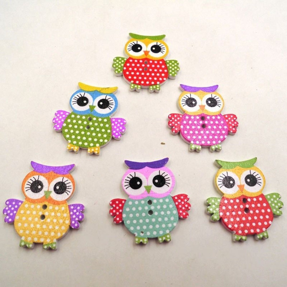 15Pcs Mixed Wooden Round Owl Birds Buttons Fit Scrapbooking Sewing 20mm