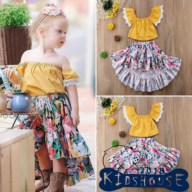 53eee5a340b9 H-C☆2Pcs Set Girls Dress Kid Baby Toddler Flower Lattice Tops+Skirt Outfits  | Shopee Malaysia
