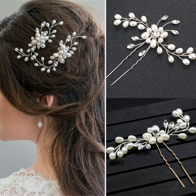 Fashion Women Pearl Hair Clip Slide Hair Pin Barrette Bridal Hair Accessory Gift