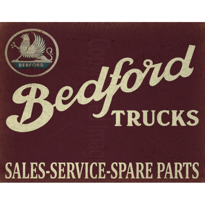 BEDFORD TRUCKS SERVICE VINTAGE  METAL TIN SIGN POSTER WALL PLAQUE