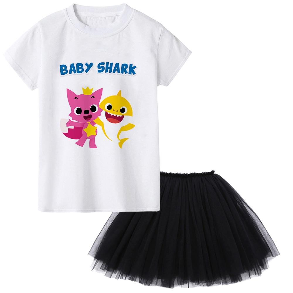Girls Cute Baby Shark Doo Doo Doo Dress Set Cartoon Tshirt Tutu