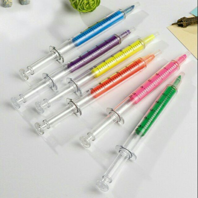 ปากกาเน้นข้อความ , ปากกาไฮไลท์ , เข็มฉีดยา , ปากกา , ปากกาน