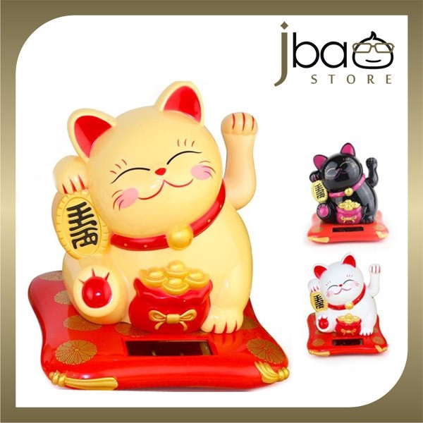 Solar Lucky Fortune Cat Hand Waving Car Display CNY Opening Gift