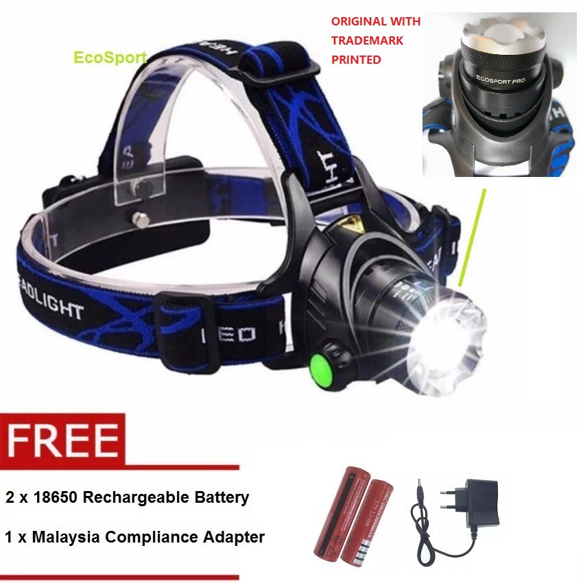 EcoSport CREE T6 Rechargeable Camping LED Headlight + Free