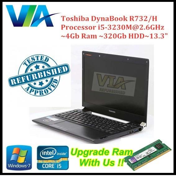 (FREE Mouse) Refurb Toshiba UltraBook R732~Ci5~4Gb Ram~320Gb~13 3''~Slim