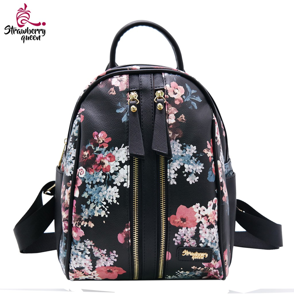 Strawberry Queen Dual Front Zipper Floral Backpack - CANDY