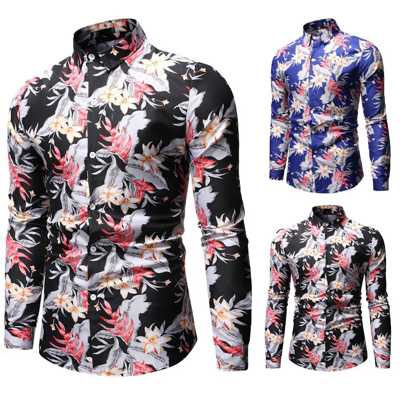 Clothing Square Trendy Men Long Sleeve Fashion Casual Button Down Long Sleeves
