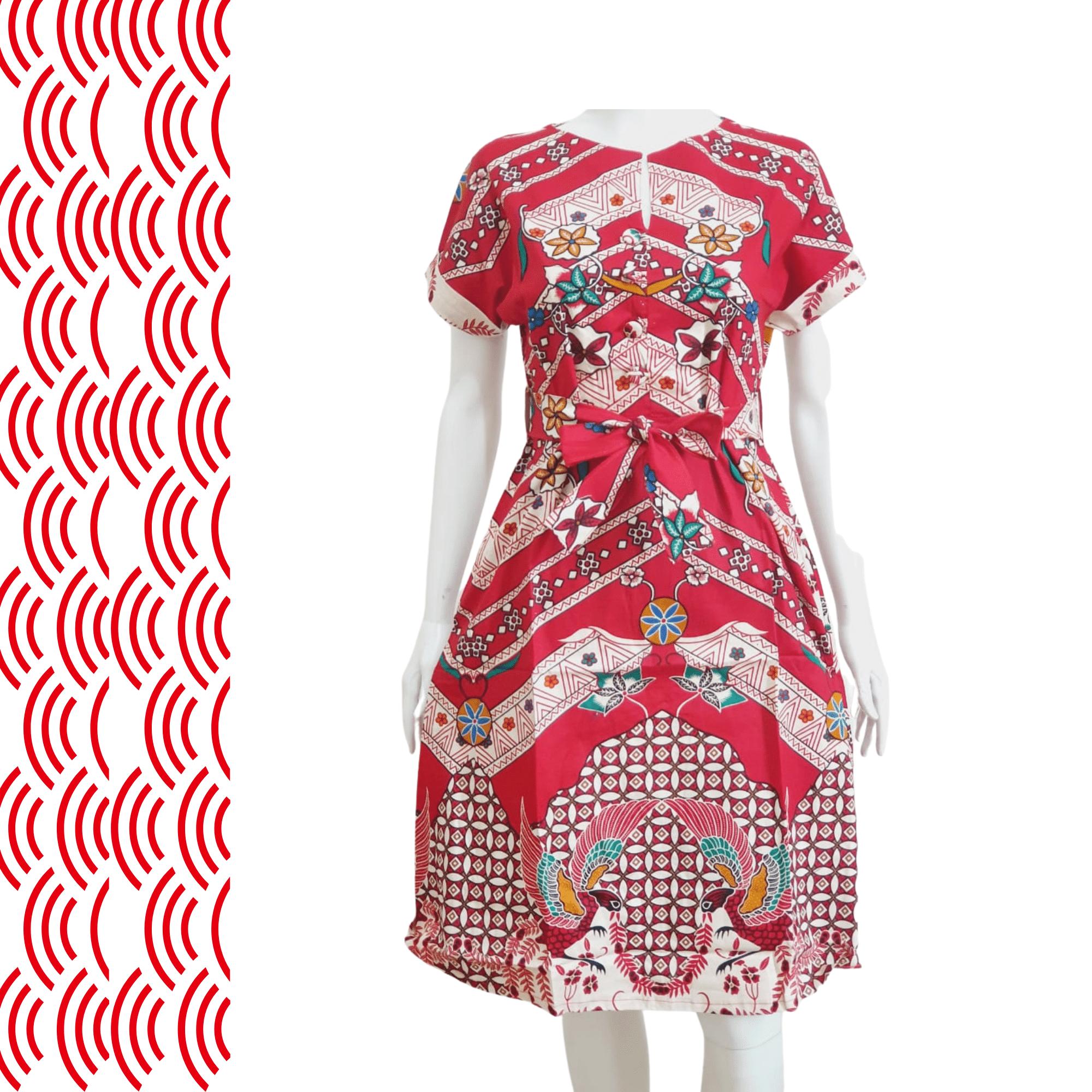 Cheongsam Batik Red Dress Sleeveless 723B