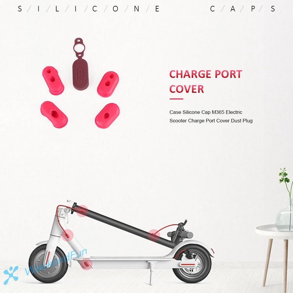 FE 4pcs Case Silicone Cap M365 Electric Scooter Charge Port Cover Dust Plug