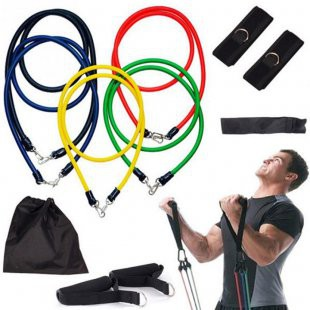 *SHIP 1DAY from MALAYSIA* 11Pcs Resistance Exercise Band Elastic Stretch Gym Rope Yoga